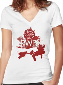 RWBY red rose Women's Fitted V-Neck T-Shirt