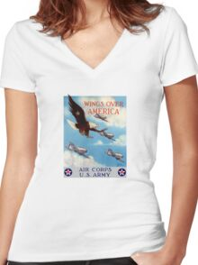 Wings Over America -- Air Corps WWII Women's Fitted V-Neck T-Shirt