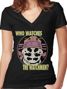 roshach from the watchmen Women's Fitted V-Neck T-Shirt