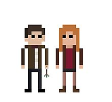 8-Bit Heros - 11th Doctor and Amy Photographic Print