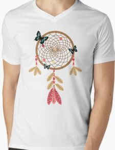 Dream Triple Butterfly Dream Catcher Mens V-Neck T-Shirt