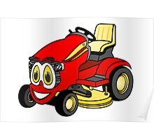 Riding Lawn Mower Cartoon Poster