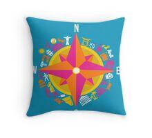Travel Compass Throw Pillow