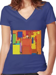 DigiGolden Wall Women's Fitted V-Neck T-Shirt
