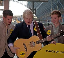 Back Busking Boris Johnson and King's Parade by Keith Larby