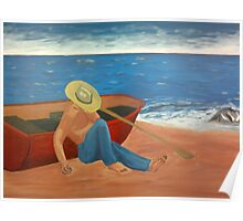 The sleeping fisher on the beach Poster