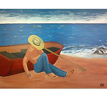 The sleeping fisher on the beach Photographic Print