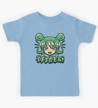 Kawaii Face -Green Kids Tee