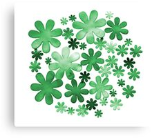 Paper watercolour green flowers Canvas Print