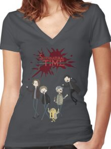 Supernatural Adventure Time Women's Fitted V-Neck T-Shirt