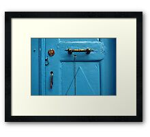 blue door & door knob Framed Print