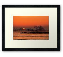 Nebraska Sandhill Crane Sunrise Framed Print