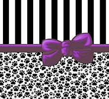 Ribbon, Bow, Dog Paws, Stripes - White Black Purple by sitnica
