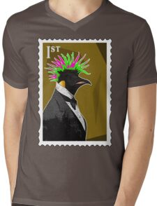 Punk Penguin Mens V-Neck T-Shirt