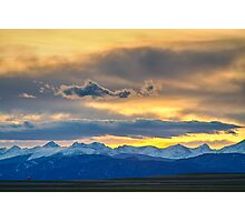 Colorado Rocky Mountain Front Range Sunset Gold Photographic Print