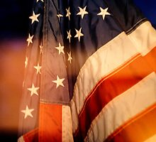 Reflected, American Flag at Dusk by leifrogers