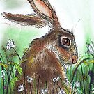HARE WITH FLOWERS by Hares & Critters