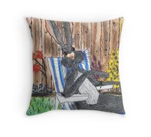HARE IN DECK CHAIR Throw Pillow