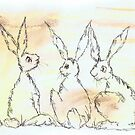 THREE HARES by Hares & Critters