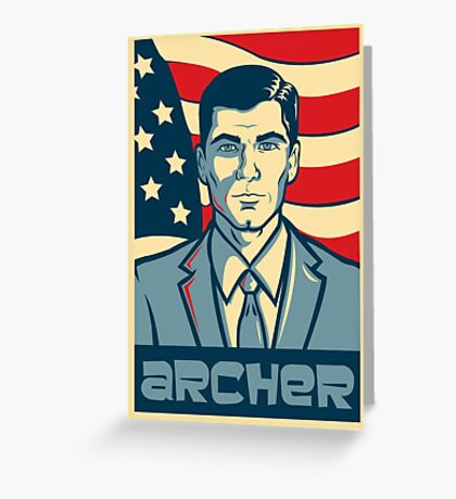 american archer red white and blue Greeting Card