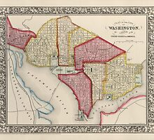 Antique Map of Washington, DC from 1863 by bluemonocle