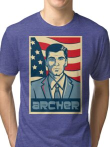 american archer red white and blue Tri-blend T-Shirt
