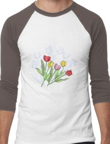 Bouquet with Red Yellow Tulips Men's Baseball ¾ T-Shirt
