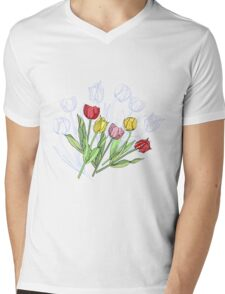 Bouquet with Red Yellow Tulips Mens V-Neck T-Shirt