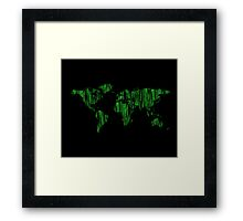 World Map in Matrix Version Framed Print