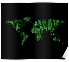 World Map in Matrix Version Poster