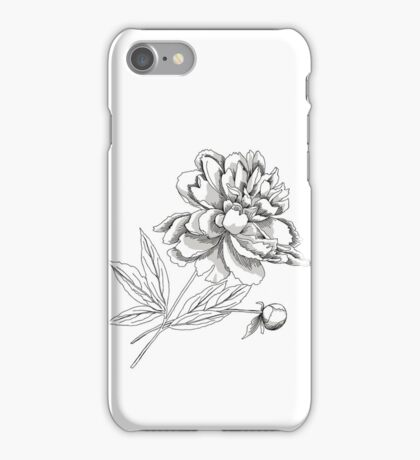 Peony.Sketch black and white iPhone Case/Skin