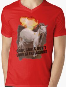 Cool goats don't look at explosions Mens V-Neck T-Shirt