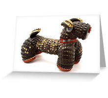 Dog made of beer bottle tops 1950s Greeting Card