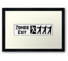 ZOMBIE EXIT SIGN by Zombie Ghetto Framed Print