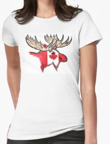 Artistic Canadian flag moose head Womens Fitted T-Shirt