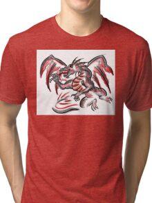 Red gray artistic dragon drawing Tri-blend T-Shirt