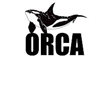 Orca (Black Text) Photographic Print