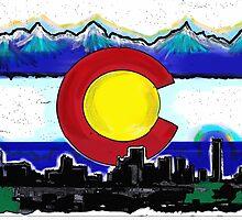 Artistic Denver Colorado skyline design by artisticattitud