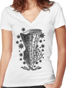 Starry Night Corset Tee Women's Fitted V-Neck T-Shirt