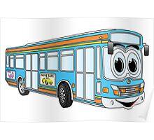 Blue City Bus Cartoon Poster