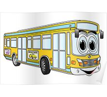 Yellow City Bus Cartoon Poster