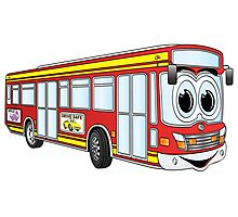 Red City Bus Cartoon Photographic Print