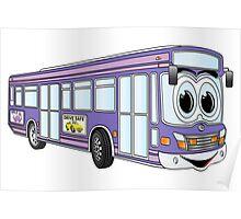Purple City Bus Cartoon Poster