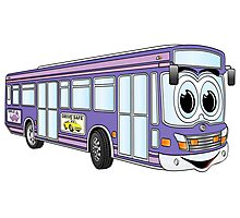 Purple City Bus Cartoon Photographic Print