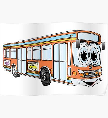 Orange City Bus Cartoon Poster