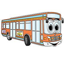 Orange City Bus Cartoon Photographic Print