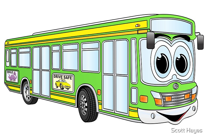 Quot Green City Bus Cartoon Quot Posters By Graphxpro Redbubble