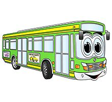 Green City Bus Cartoon Photographic Print