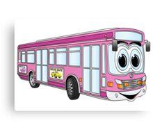 Pink City Bus Cartoon Canvas Print
