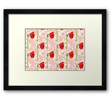 Seamless pattern  with red white amaryllises Framed Print